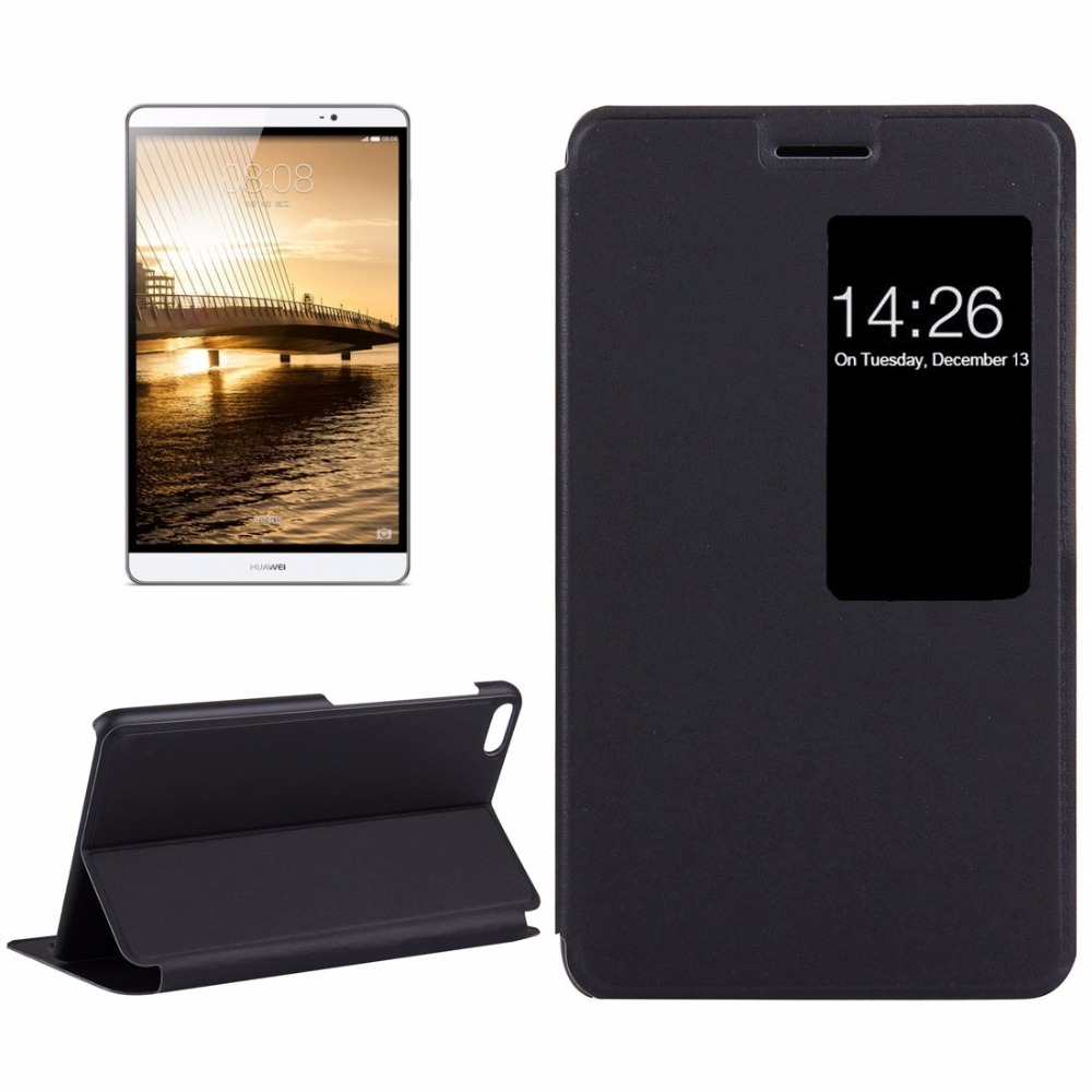 For Huawei MediaPad M2 Youth Version 7.0 Litchi Texture Horizontal Flip Leather Case with Holder & Smart Window cube wp10 steel wire texture horizontal flip leather case with holder