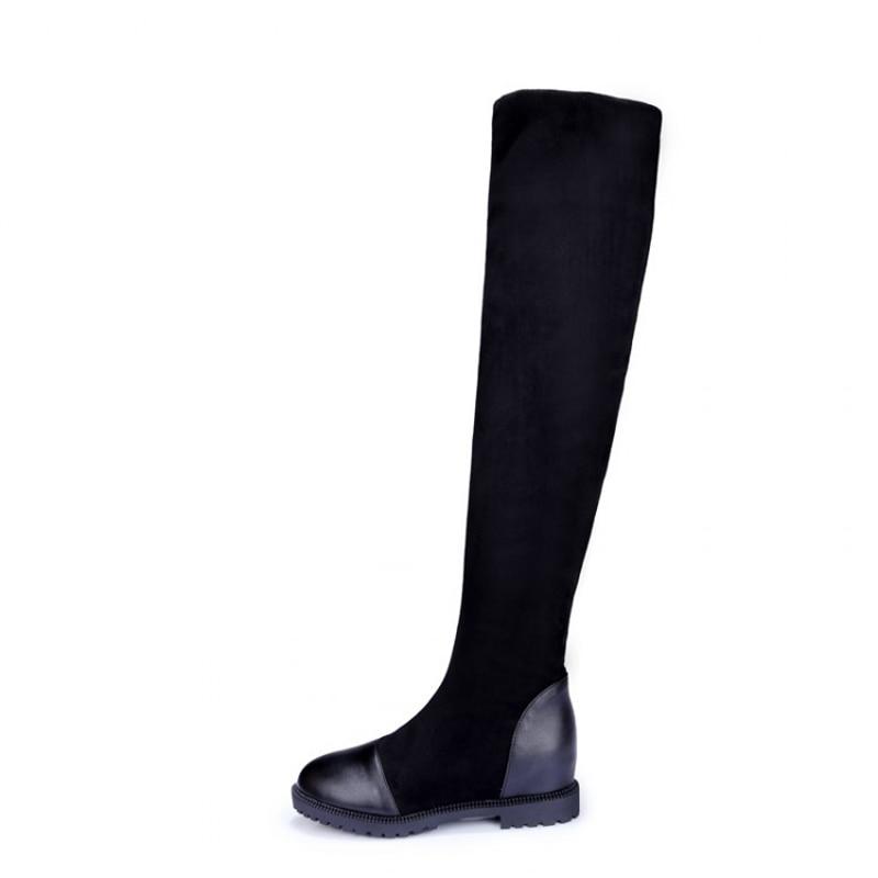 2018 Carré Rount Toe D'hiver Talons Style Femmes Bottes Sur Genou Slip Rome Troupeau Mode Plat Talon Le Black TcF1lKJ3u