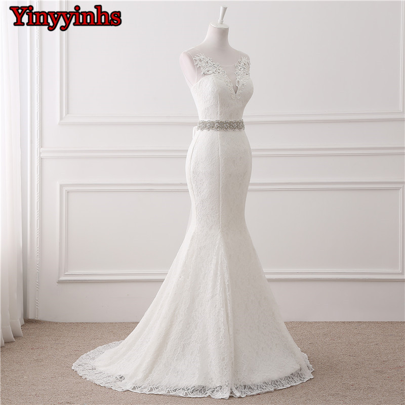 In Stock Real Photos Wedding Gown White Lace Cheap Mermaid Wedding Dress 2018 Vestido De Noiva SweepTrain Bridal Gowns GHS01 3
