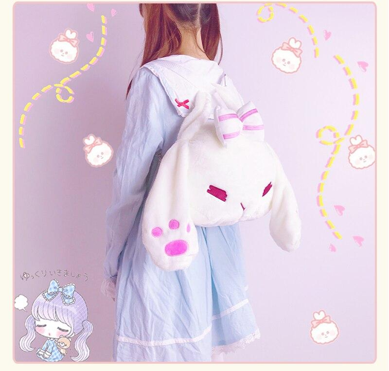 Kawaiii Big-Ears Bunny Plush Backpack  6