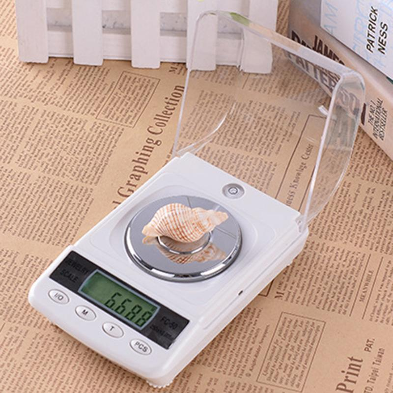 50g x 0.001 Precision Portable Electronic Jewelry Scales Diamond Gold Germ Medicinal Pocket Digital Scale Weighing Balance electronic scale ves 50a precision of the cold media is called quantitative fluorine balance scale refrigeration tools 1pc