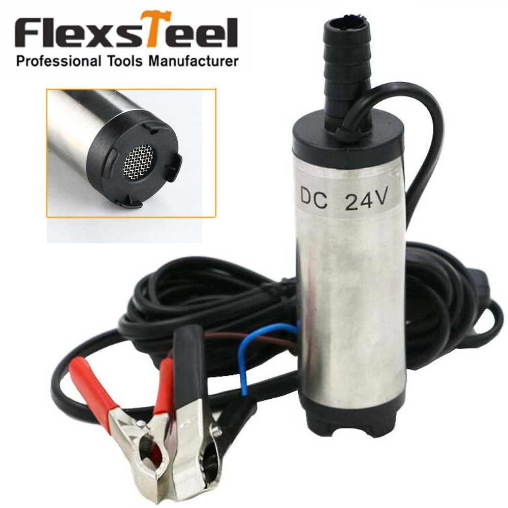 24v Dc Diesel Fuel Water Oil Car Camping Fishing Submersible Transfer Pump Filter 12 38mm Fluid Refuel For