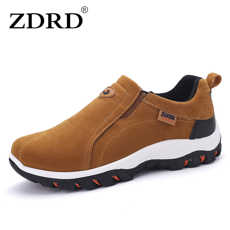 ZDRD Men Warm leather suede Casual Massage brand Shoes Slip On Loafers shoe Oxford Fashion Shoes For Men Outdoor Zapatos Hombre men cow split leather shoes casual loafers soft and comfortable oxfords non slip flats luxury brand designer shoe zapatos hombre