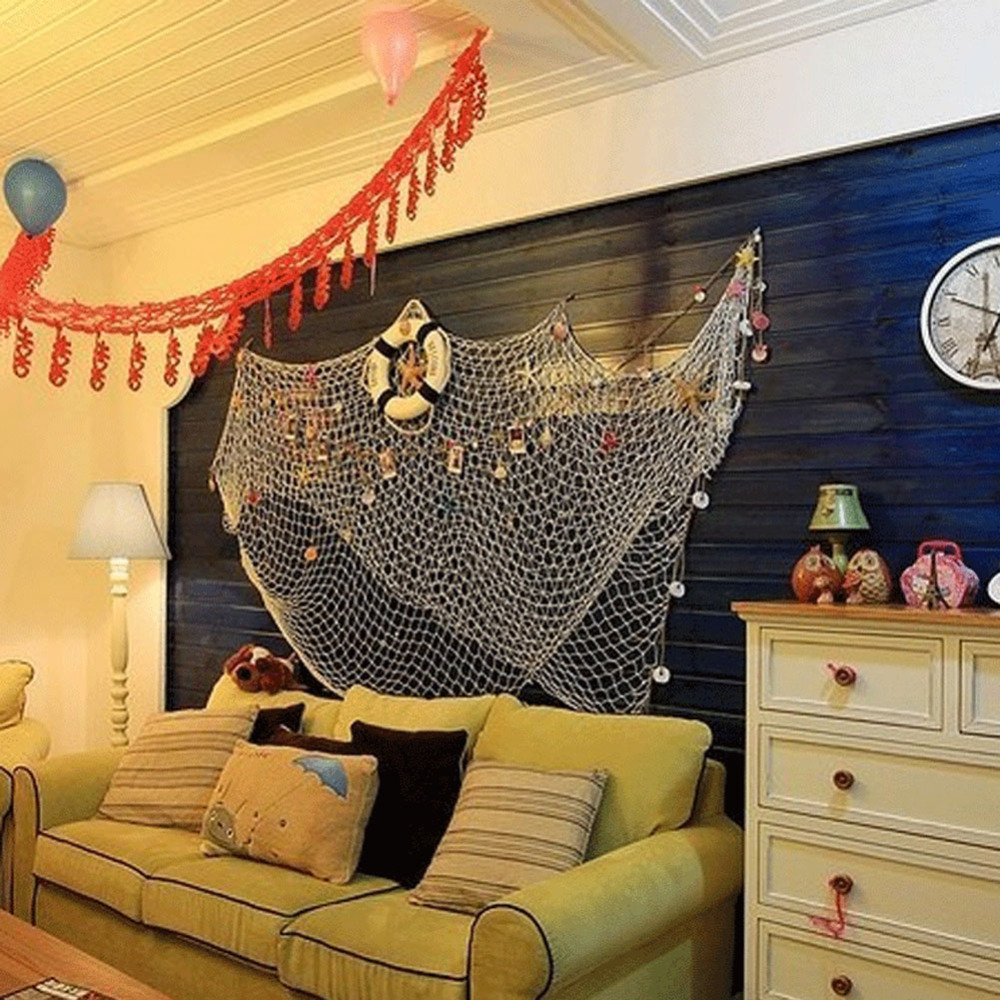 1x2m Sailor Style Home Door Wall Hanging Fishing Net Seaside Beach Shell Nautical  Party Decoration Sail