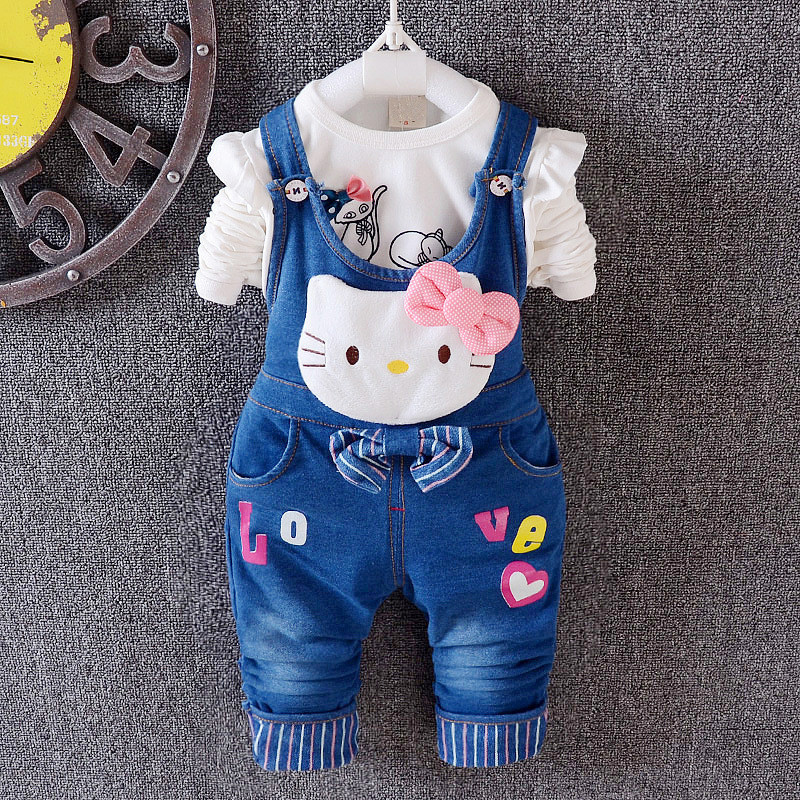 Anlencool Spring of  high quality new girls KT cat solid Denim Bib suit explosion models selling children's clothing boutique the explosion of the classic all match solid colored body hip high elastic denim pants feet female winter bag mail