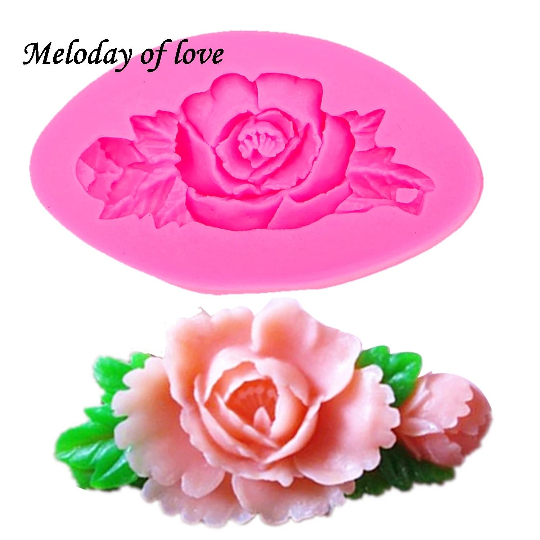 3D ROSE FLOWER Silicone Fondant Cake Molds Plant Leaf Chocolate Baking DIY Mould