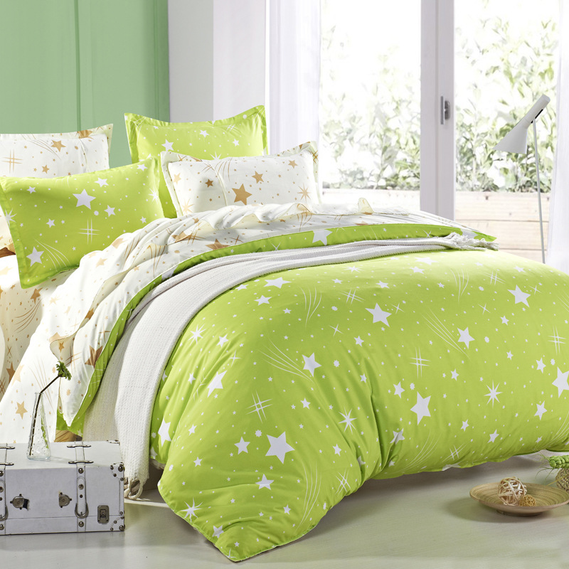 Home & Garden Home Textile Apple Green Bedding Skin-friendly Cotton Sheets Bed Cover King Size Meteor Shower And Snowflakes Bedclothes housse De Couette