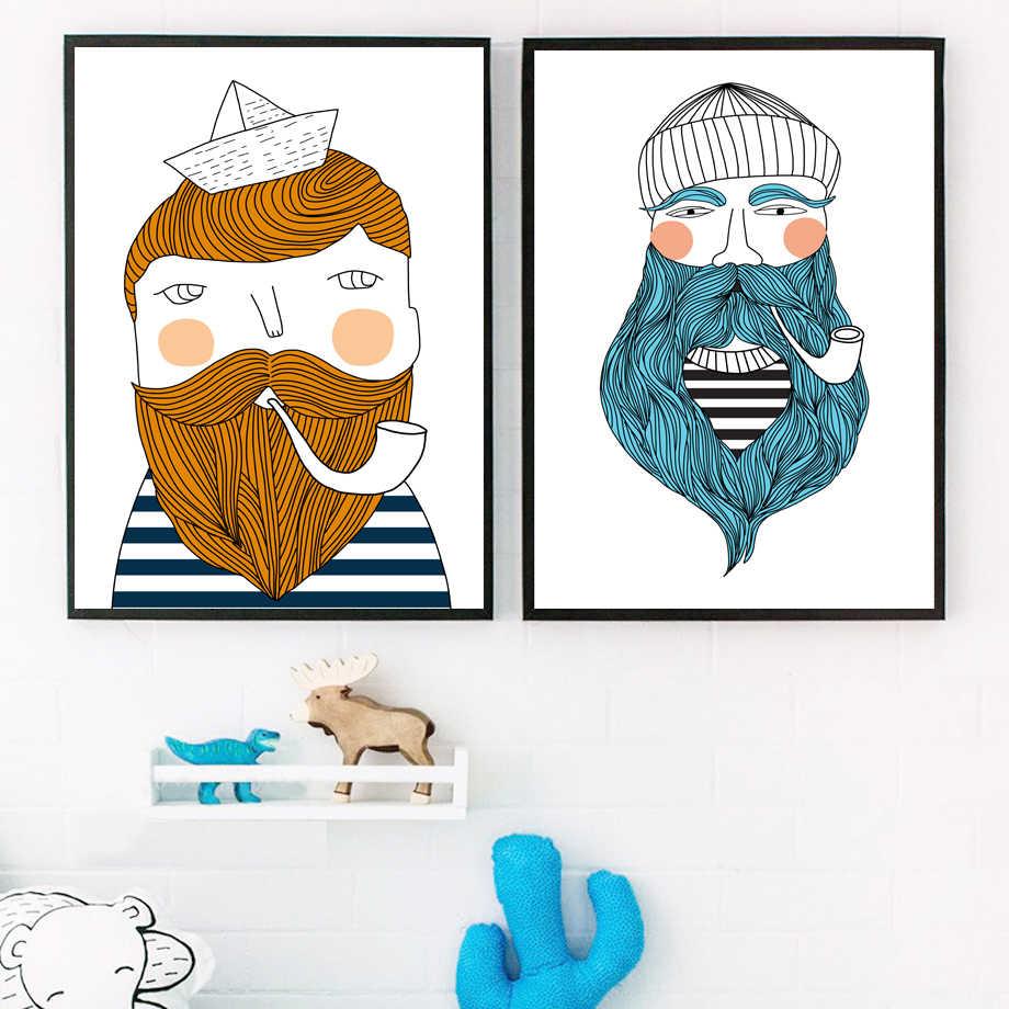 Kartun Pelaut Nelayan Jenggot Ilustrasi Dinding Seni Lukisan