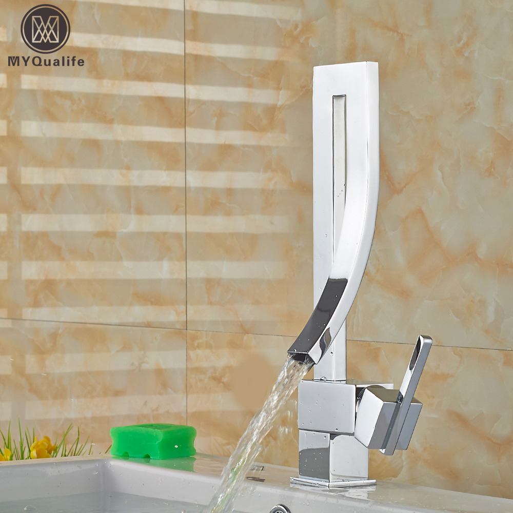 Unique Desing Single Handle Waterfall Basin Faucet Tap Deck Mounted Brass Hot and Cold Bathroom Mixer Crane One Hole the ivory white european super suction wall mounted gate unique smoke door