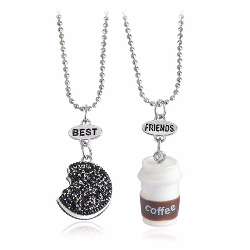 KvJJL 2Pcs Pendant Emulational Chocolate Milk Biscuits Coffee Necklaces Friendship Creative Christmas Couple Jewelry Party Gift