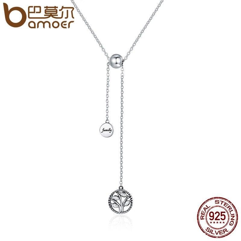 BAMOER genuino 925 Sterling plata Árbol de la vida y casa carta enlace cadena collares y colgantes de plata auténtica de SCN106