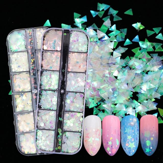 1 Case AB Mermaid Nail Paillette Holographic Powder Nail Glitter Geometry Smile Flakes Sequins Manicure Decoration BEHW-1/2