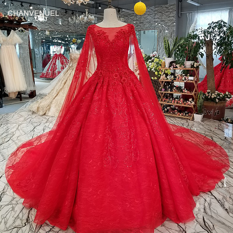 Red Ball Gown Wedding Dresses: LS01240 Red Wedding Dress Short Sleeve O Neck Ball Gown