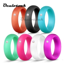 7pcs/set 5.7mm Grade FDA Silicone Ring With Rhinestone Hypoallergenic Crossfit Flexible Rings For Women Wedding
