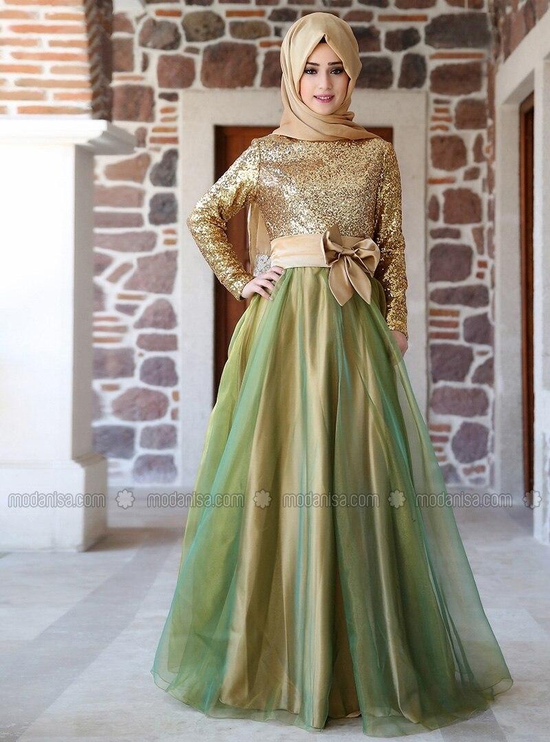 Y189 Formal Muslim Gold Sequin Sheer Tulle Clothing In