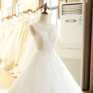 Image 4 - SL 1T בציר תפור לפי מידה אונליין ארוך תחרה אפליקציות סין חתונה שמלה בתוספת גודל בוהמי Abito דה sposa טול כלה שמלה