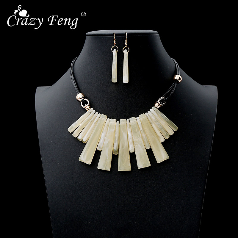 2019 Hot Sale Fashion Large Choker Necklaces Earrings Set For Women Exagrated Wedding Jewelry Set Rope Chain Stateme Necklaces in Jewelry Sets from Jewelry Accessories