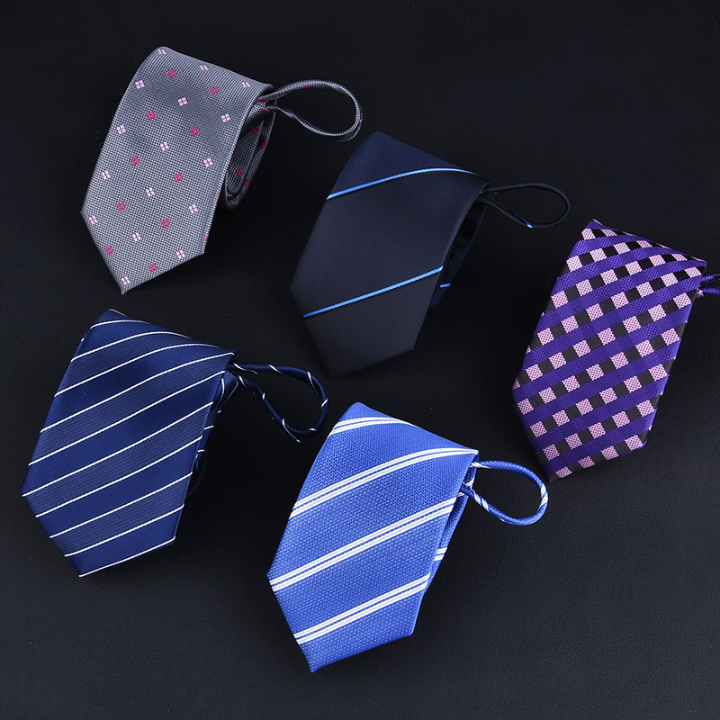 New 7cm Zipper Men Ties Business Fashion Style Slim Men Neck Tie Simplicity Design Solid Color For Party Lazy Formal Ties