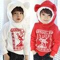 Дети осенью и зимой onta мальчиков одежда девушки одежда олень зима флис с капюшоном толстовка верхней одежды толстовки