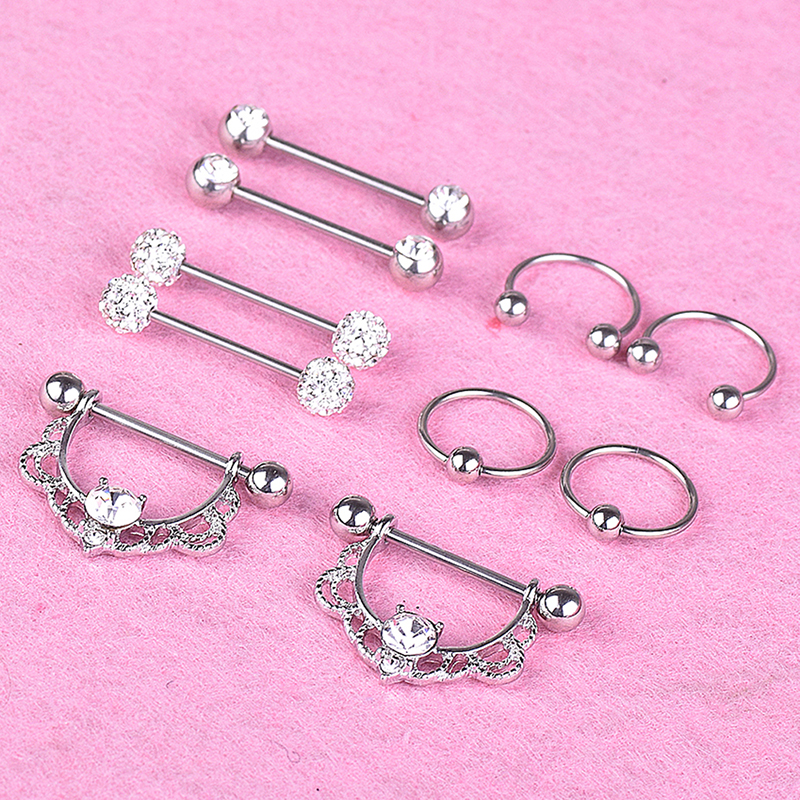 10Pcs Set Steel Nipple Rings Bar Barbell Industrial Cartilage Piercing Jewelry for Women in Body Jewelry from Jewelry Accessories