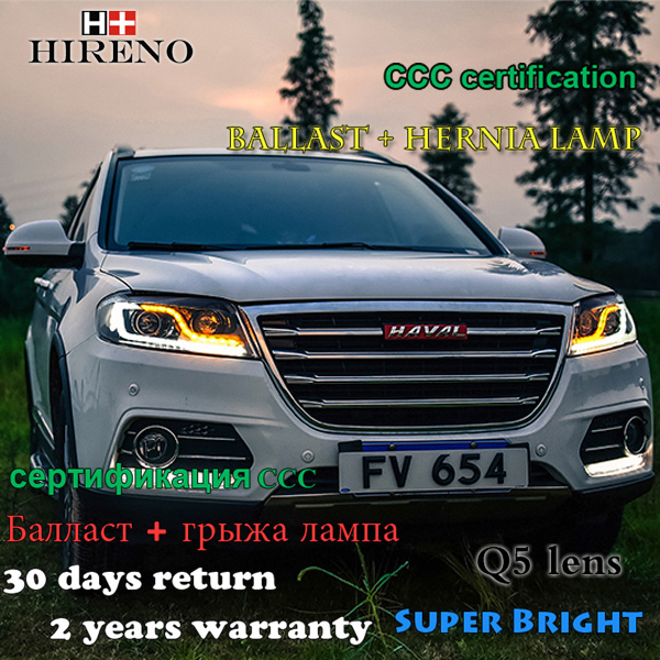 Hireno Car styling Headlamp for Haval H6 Sports 2015-2016 Headlight Assembly LED DRL Angel Lens Double Beam HID Xenon 2pcs hireno car styling headlamp for 2003 2007 honda accord headlight assembly led drl angel lens double beam hid xenon 2pcs