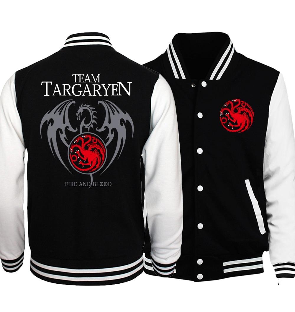 Game of Thrones Baseball Jacket Targaryen Fire Blood Jackets 2018 Spring Autumn Hip Hop Brand Streetwear Punk Stark Coat For Men