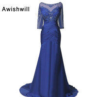 Real Picture Modest Mother Of The Bride Dress With 3 4 Sleeves Beaded Ruched Chiffon Open