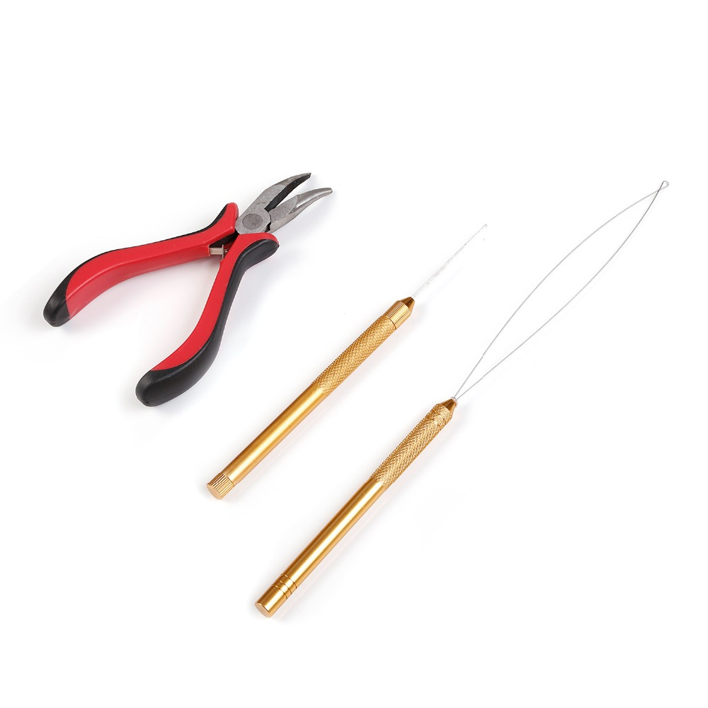 Neitsi One set Hair Tools For Ring Hair Extensions(1pc Bent Nose Needle Plier+1pc Copper Hook Needle+1pc Copper Loop Threader)