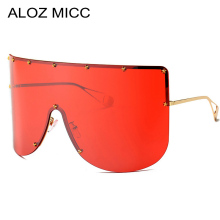 ALOZ MICC Women Fashion Oversized Sunglasses Men 2019 Vintage Half Frame Pentagram Windproof Visor Goggles Q405