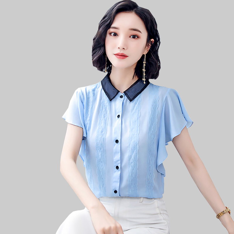 Shintimes Short Butterfly Sleeve Chiffon Blouse Peter Pan Collar Shirt Women Clothes 2019 Button Summer Womens Lace Casual Tops