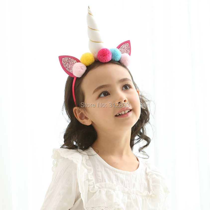 YANXIAN Unicorn Headband with Pom Cat Ears Hair Band Horn Hairband Headbands for Women Girls Kids Children Hair Accessories