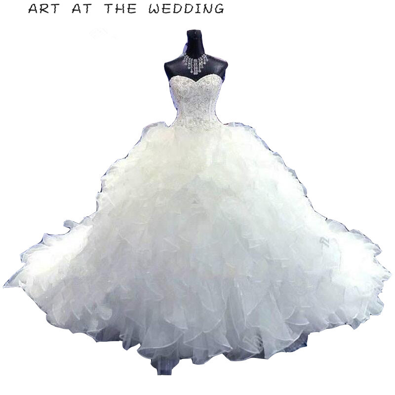 2019 Hot Sale Ball Gown Sweetheart Handmade Luxury Beading Lace Up Gorgeous Cathedral Train Vestido De Novia Wedding Dresses