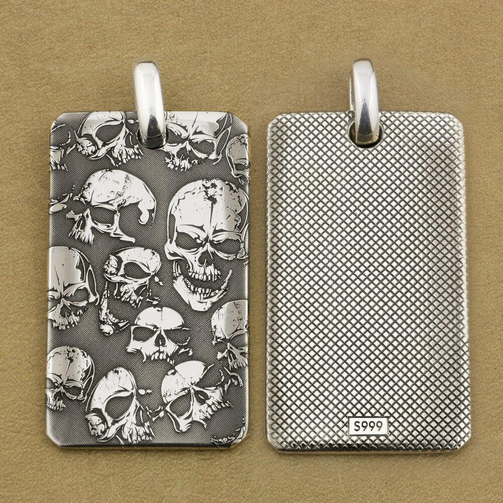 все цены на High Details 999 Sterling Silver Deep Laser Engraved Skulls DogTag Mens Biker Rock Punk Pendant 9X032S Just Pendant