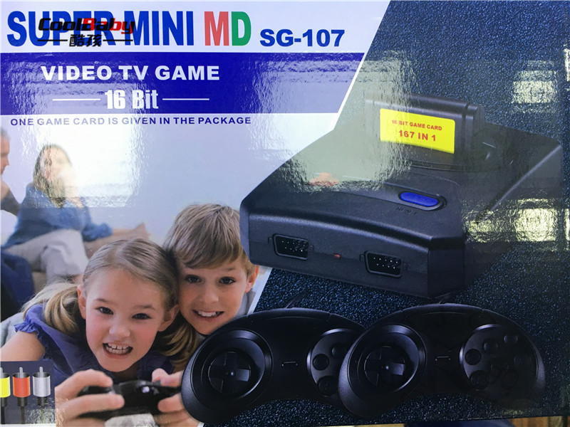 2018 CAN use game card SUPER mini 16 bit MD16 SG-107 AV out family games TV video game console free 16 BIT 167 sega games