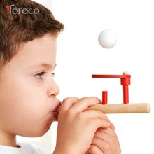 TOFOCO Wood Schylling Blow Toys Hobbies Outdoor Fun Sports Foam Floating Toy Suspended Ball Blow Parent-child Game Wholesale(China)
