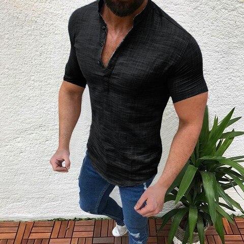 Shirts 2019 Linen Shirts Men Stand Collar V-neck Shirt Fashion Hawaiian Shirts Chemise Homme Men Clothes Camisa Masculina Lahore