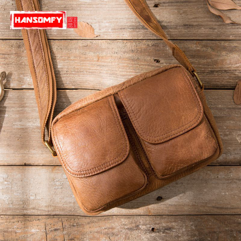 HANSOMFY Men Bags Genuine Leather small square Shoulder Messenger Bag New Pouch Leisure Coffer First Layer Cowhide Men bagHANSOMFY Men Bags Genuine Leather small square Shoulder Messenger Bag New Pouch Leisure Coffer First Layer Cowhide Men bag