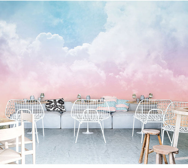 Pink Sky Cloud 3d Cartoon Wallpaper Murals for Girls Room-Free Shipping 3D Wall Stickers For Kids Rooms