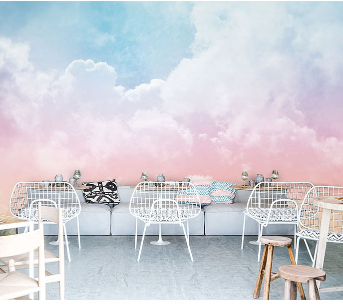 Pink Sky Cloud 3d Cartoon Ceiling Wallpaper Murals For Girls Room Kindergarten Nursery 3d Wall Mural 3d Cartoon Mural Wall Paper