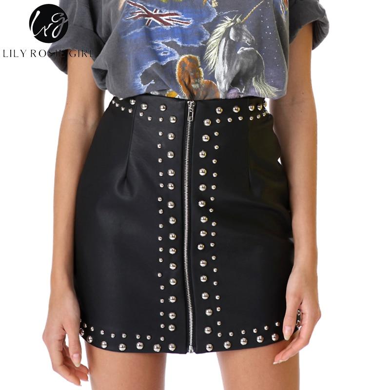 Lily Rosie Girl Sexy Black Women Mini Zipper Skirt Rivet Design Skirts Fashion Streetwear Empire Femme Summer Skirt