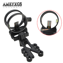 Adjustable 5 Pins Sight Compound Bow 0.019 Fiber Optics Micro Adjust Sight With Aiming Light For Hunting Shooting Accessories archery compound aluminum bow sights laser micro adjust optical fiber micro optic sight flecha hunting 1 pins shooting