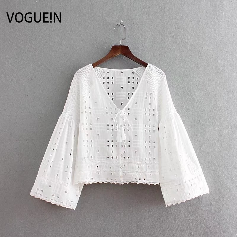 VOGUEIN New Womens Summer Hollow Out V-Neck Tassel Pullover   Blouse     Shirt   Tops Wholesale