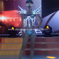 White Color Led Light Flashing Sexy Women Suit Dress Costume Luminous Sexy Lady Bra Vest And Pants Suit For Women Party DJ Club