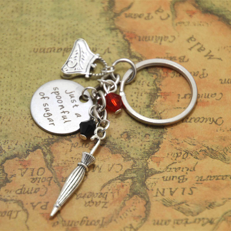 12pcs Mary Poppins keyring just a spoonful of sugar jewelry charm keychain adjusable silver tone ...