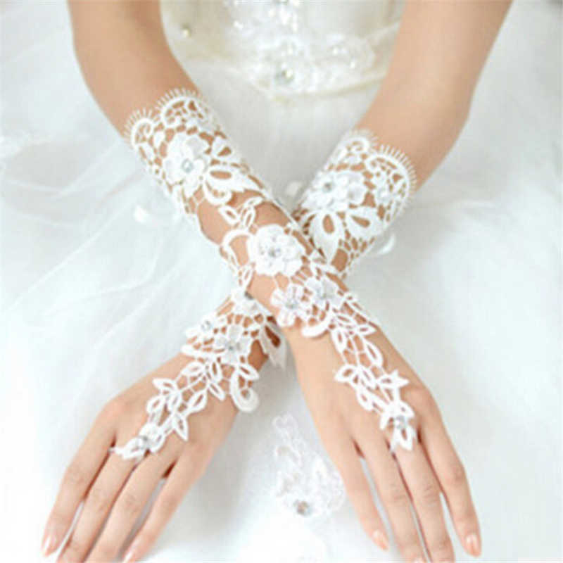 Fashion Bunga Embun Jari Sarung Tangan Pengantin Renda Menyulam Berongga Out Imitasi Berlian Perban Sarung Tangan Putih Aksesoris 7002