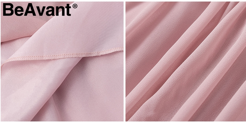 HTB1u3bUazLuK1Rjy0Fhq6xpdFXaI - BeAvant Off shoulder strap chiffon summer dresses Women ruffle pleated short dress pink Elegant holiday loose beach mini dress