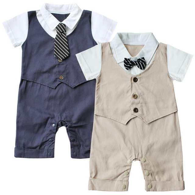 0270be48e Online Shop Baby Boys Rompers 2 Pieces Clothing Set Khaki Blue Hat + ...