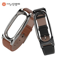 Mijobs Leather Wristband Plus For Xiaomi Mi Band 2 Replacement Straps Stainless Stell Metal Frame Wrist