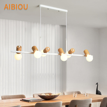 AIBIOU Ajustable LED Pendant Lights For Dining Wooden Lamp E27 Bar Light Modern Kitchen Indoor Hanging Luminaire