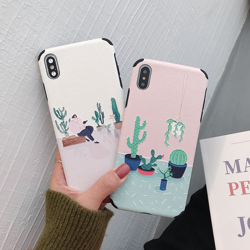 LISM Leisurely Pure Cactus Soft Silk TPU Phone Case Cover Anti knock Protector Casing For iPhone 6 6S 7 8 Plus X XR XS Max in Fitted Cases from Cellphones Telecommunications